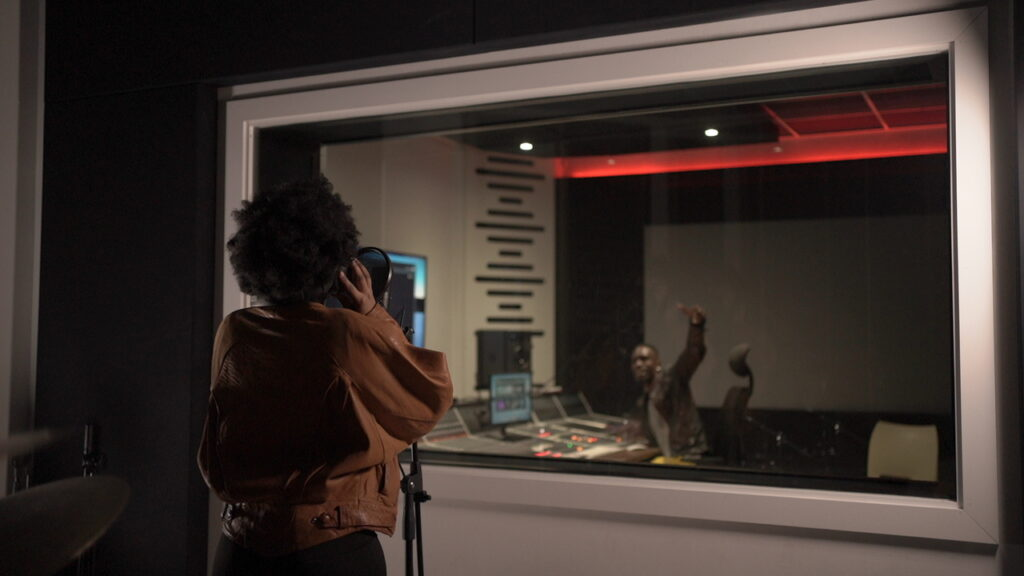 Stephney Boose in recording booth
